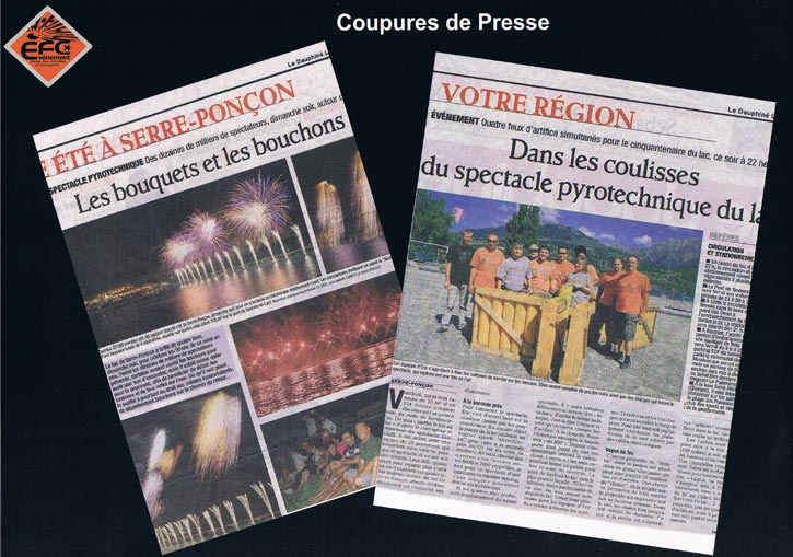 articles de presse de feux d'artifices